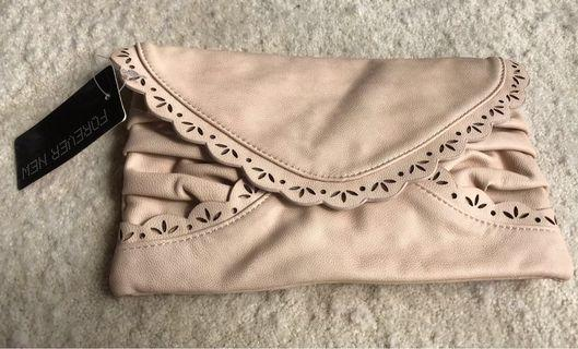 Forever New Envelope Scallop Clutch - Dusty Peach