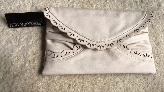 Forever New envelope scallop clutch - cream colour