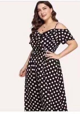 Plus Size Polkadot Coldshoulder Dress