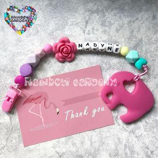 Handmade Pacifier Clip with customisation of name (silicone letter beads) + Elephant teether