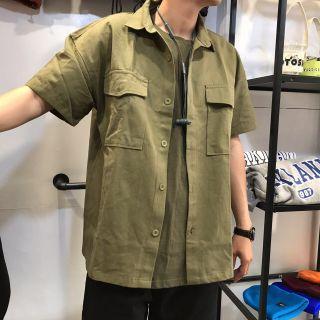 🚚 2016 Otoshi 日系 工裝 愛精油 多口袋 大地色 短袖 襯衫