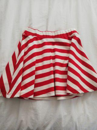 Cute Red Striped Skater Skirt