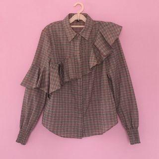 The Fifth Label sample tartan front frill shirt