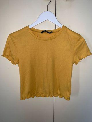 Sportsgirl T mustard and green
