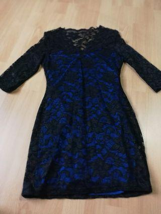 N.y.l.a black lace blue underline short dress