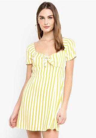 Factorie tie front dress in yellow stripes