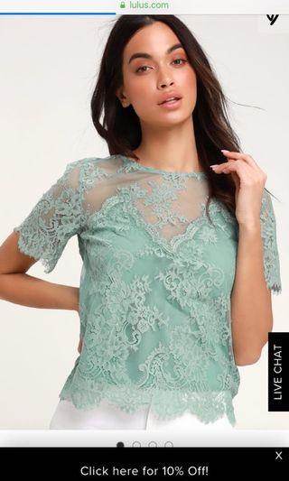 Lulus mesh green top