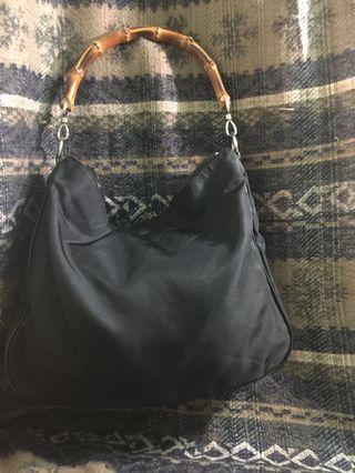 Authentic GUCCI Black Nylon Bamboo Handle Bag