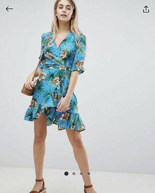 Boohoo wrap dress in tropical floral