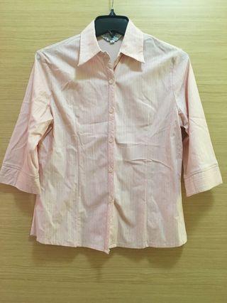 🚚 銀邊直條淡粉襯衫