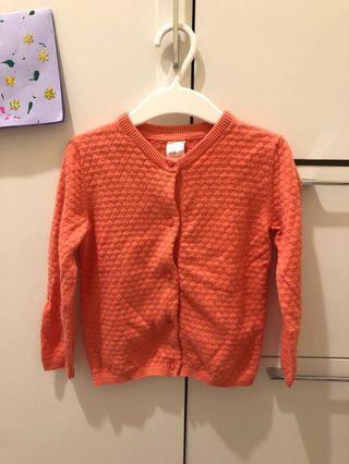 H&M Organic Cotton 粉橙色針織外套