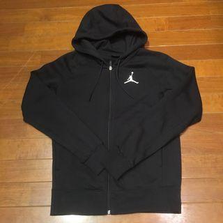 Nike Air Jordan 日本限定 男運動籃球連帽外套 帽T 保暖內刷毛 全黑素色基本款 飛人喬丹 硬挺高磅數 S
