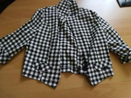 Cropped chequered jacket
