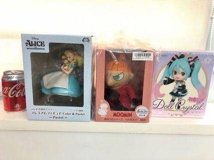 $200/3個,Alice愛麗絲,初音,姆明,亞美,figure ,日本,全新,特價
