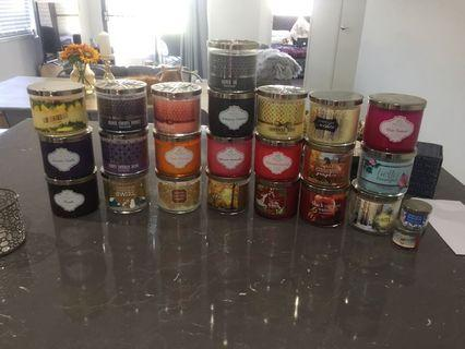 Bath and body works candles 3 wick, holder or 2 mini set