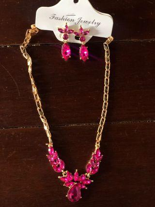 Kalung + anting set pink