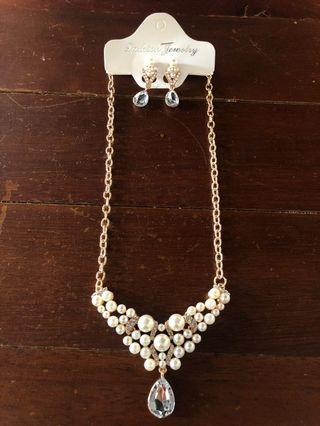 kalung + anting mutiara set