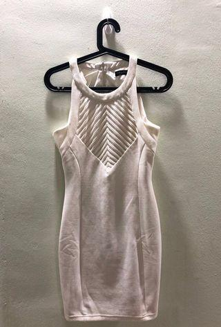 Formal white dress with mesh panel