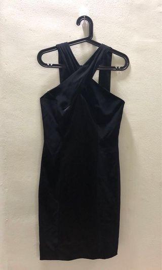 Formal black dress with satin panel