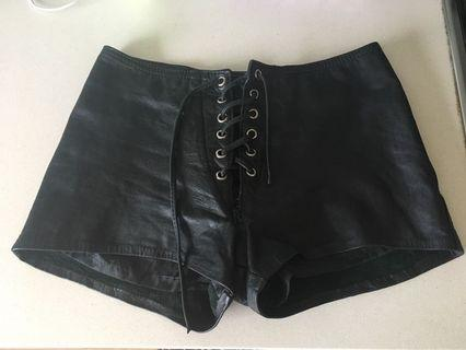 Vintage genuine leather lace up shorts hotpants REDUCED PRICE