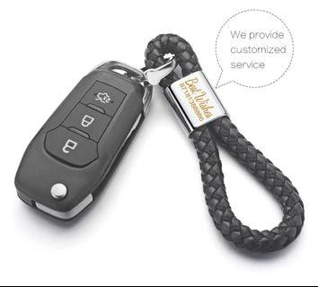 Custom Engrave Car Key Holder   Couple keychain 100% Genuine leather 3 colors