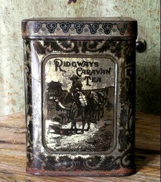 🏴 OLD 1930'S RIDGWAYS CARAVAN TEA TIN