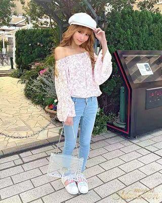 日系🌸Rady🌸花柄碎花一字領露肩上衣 Japan fashion floral off-shoulder top offshoulder top