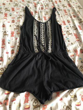 Forever 21 Black Tie Waist Embroidered Romper