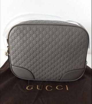 Gucci Grey Leather Camera Bag with Strap
