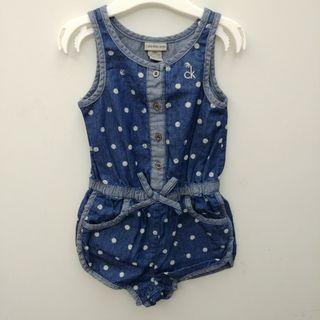 ✨限量✨(12m/5T) Calvin Kein Jeans 出口歐洲 女童嬰兒BB夏天藍色牛仔背心連身短褲 全新