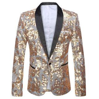 Shawl Lapel Silver Jacket with Gold Sequins