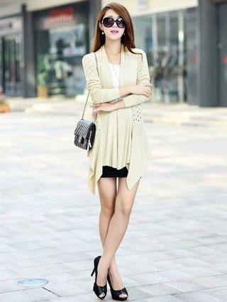 米白色針織毛衣外套外衣