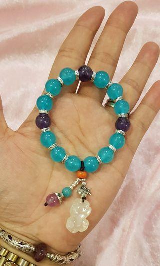 天然藍玉髓紫水晶手鍊