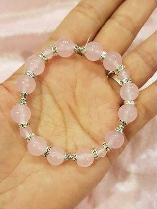 天然粉水晶手珠