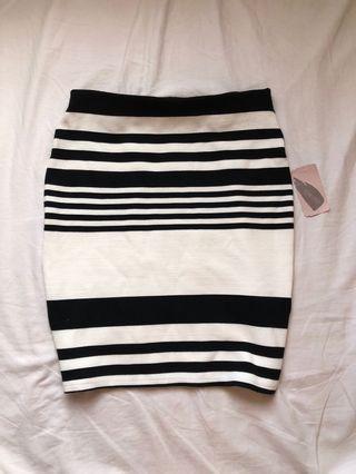 Bnew Forever21 skirt XS black and white striped
