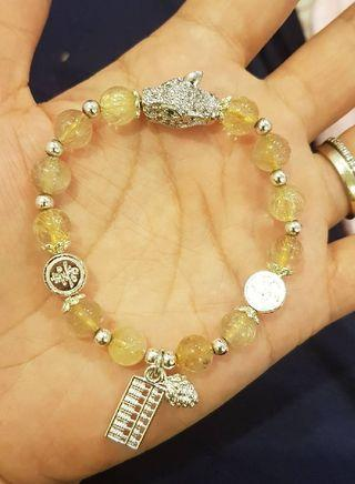 限量特殊設計款 天然金髮晶搭配虎豹算珠鍊   限量一款賣完/不再進貨