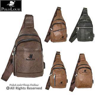 Polo Louie Stylish USB Crossbody Bag Chest Pouch Shoulder Sling Bag Man Leather