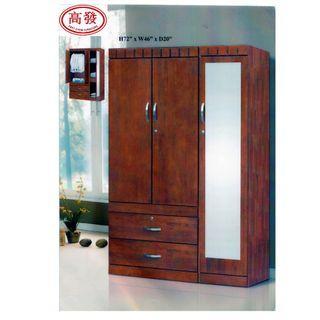 4FT Mirror Wardrobe 3 Door 2 Drawer/ Almari Baju