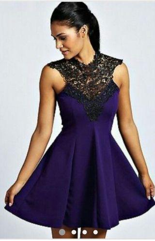 Lace purple open back skater dress
