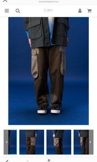 🚚 FEAROM 多口袋拼接撞色寬鬆洗水 工裝褲 (軍綠拼接)