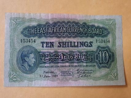 1939 KGVI East African Currency Board 10 Shillings note