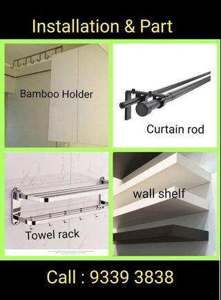 Handyman services, curtain rods/wall shelves for sale, enquire now!