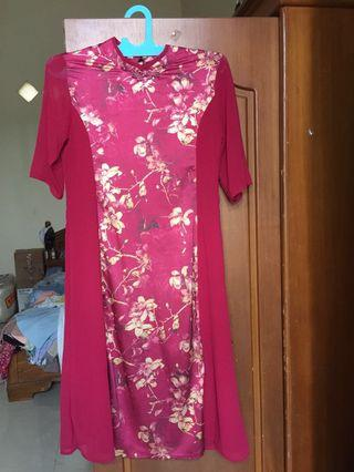 Red Cheongsam Long Dress