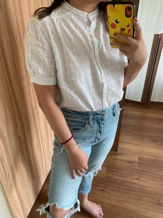Broderie Anglaise Button Down Blouse