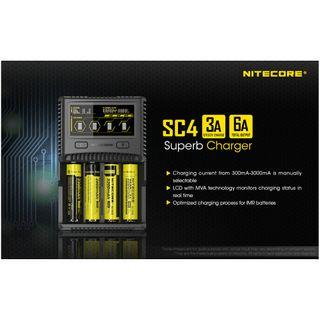 Nitecore SC4 Superb 3A Rapid Hybrid Lithium/Ni-Mh Quad Bay Charger