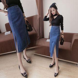 Denim Slit Highwaist Korean Style Skirt