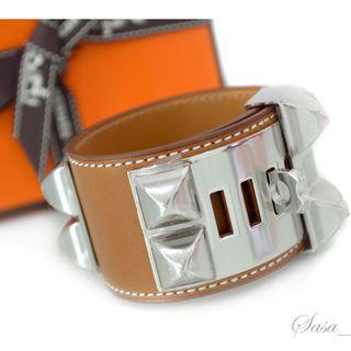 Authentic HERMES Collier De Chien CDC Bracelet Fauve Barenia Leather