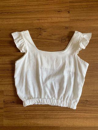White Flutter Sleeve Linen Crop Top