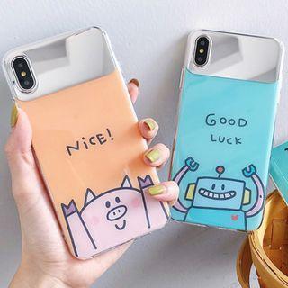 (M)手機殼IPhone6(s)/7/8/Plus/XR/X(S)/MAX : 鏡子機器人/豬