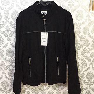 Jacket suede Zara man black size L New original